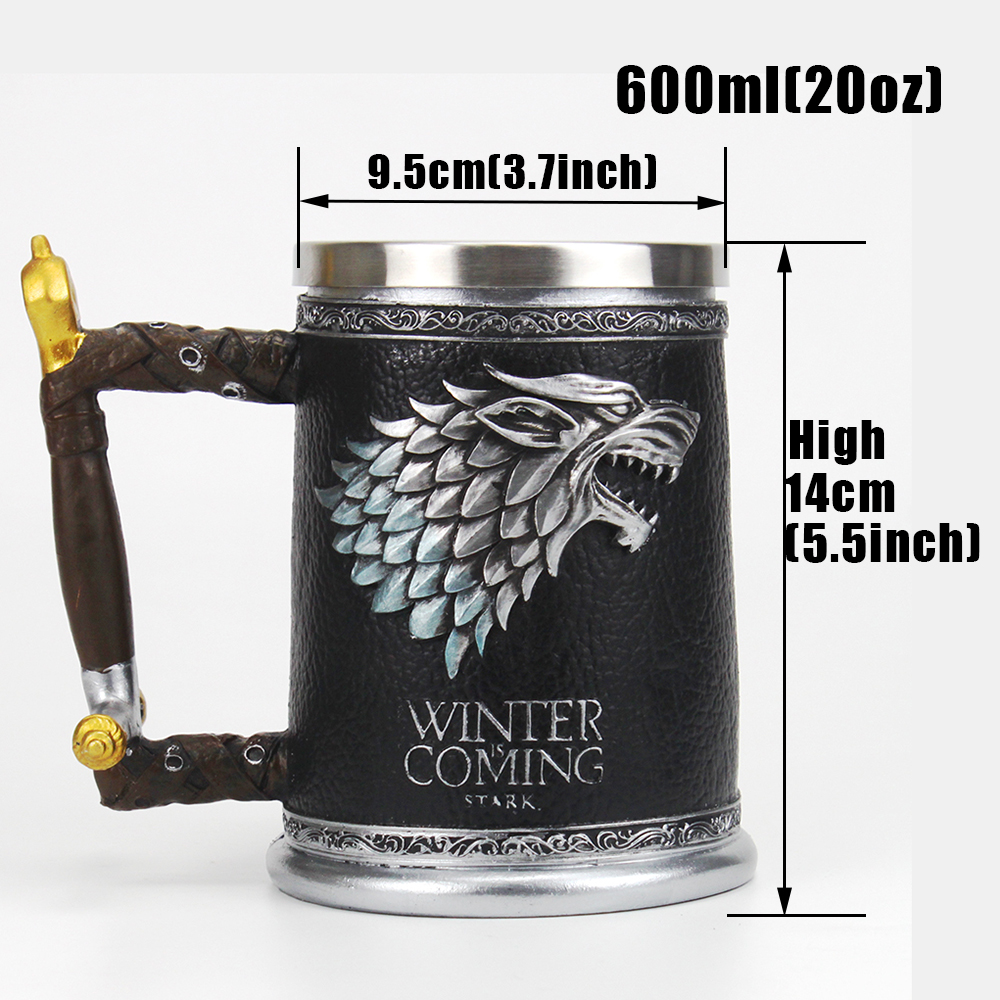 Game of Thrones Mug with Wolf's head 3D Beer Tankard Coffee Cup Mugs 600ml BEST GOT Fan Gift