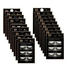 3 пары 3D шелковые волокна Накладные ресницы ручной работы натуральные длинные Сплошные Полосы Ресницы для макияжа инструменты для наращивания