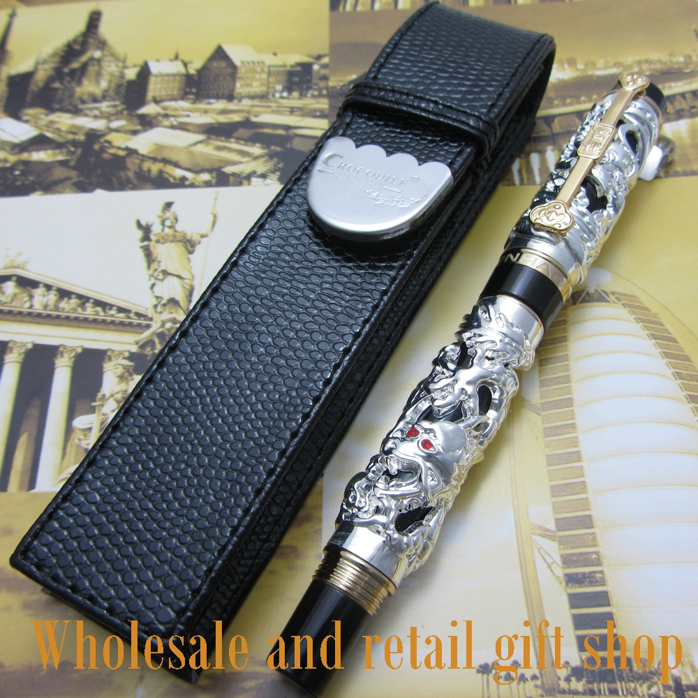 Jinhao Dragon Phoenix Heavy Silver Chinese Classical Luck Clip roller Pen and pen bag jinhao noblest old grey roller ball pen dragon and phoenix crystal