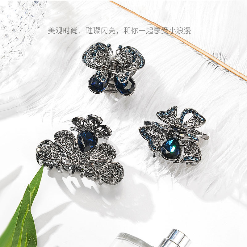 Detail Feedback Questions about Crystal Flower Hair Jewelry Black Hair Claw  Crab Vintage Rhinestone Hair Clip Pins Hair Accessories For Women on ... 8d6f27f37c60