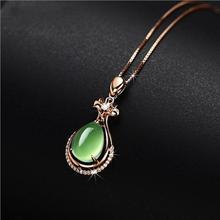 LUKENI Exquisite Zircon Green Vase Pendant Necklace For Women Jewelry Trendy 925 Silver Girl Clavicle Lady Bijou