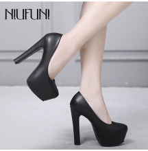 Autumn High Heels Woman Pumps Platform PU Black White Women Shoes Platform High Heels Shoes Thick Heels Work Pumps Dress Shoes стоимость