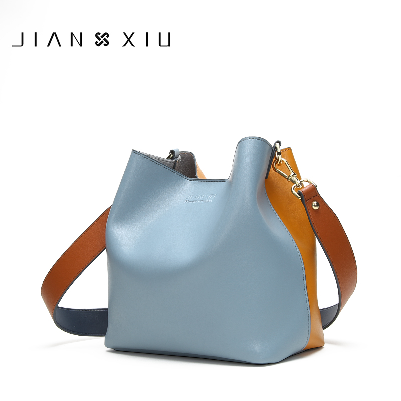 JIANXIU Brand Genuine Leather Shoulder Bags Spell Color Detachable Liner Bucket Bag Luxury Handbag 2018 New Women Messenger Bags