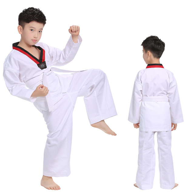 Trắng Bông Taekwondo Đồng Phục WTF Mooto Karate Judo Taekwondo Dobok Quần Áo Trẻ Em Dành Cho Người Lớn Unisex Dài Tay Áo TKĐ Quần Áo