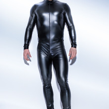 leather men latex jumpsuit sexy 3XL catsuit Teddy bodysuit black shiny  Erotic Lingerie Bodysuits One Piece