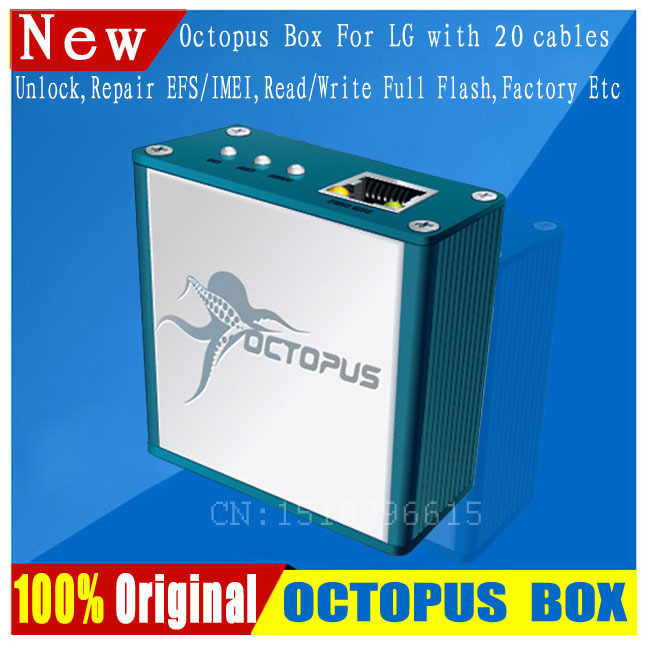 Free Shipping+The Latest 100% Original Octopus Box For LG Unlock &Repair Flash Tool Mobile Phone(package With 19 Cables)