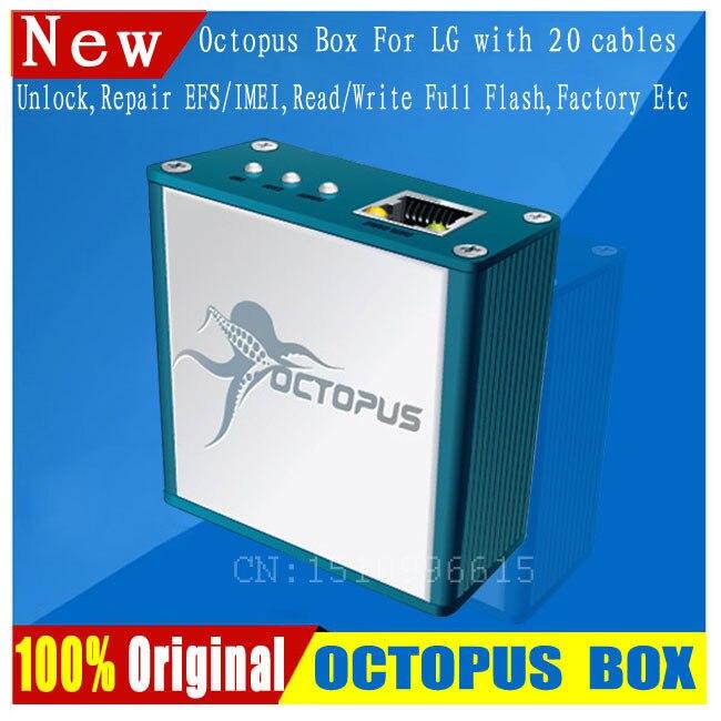 Livraison gratuite + le dernier 100% Original poulpe boîte pour LG déverrouiller & réparation Flash outil téléphone Mobile (paquet avec 19 câbles)