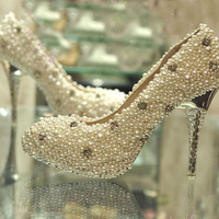 Ультра Роскошные свадебные туфли со стразами свадебная обувь атласа верхней стилет каблук с закрытым носком с искусственным жемчугом обув