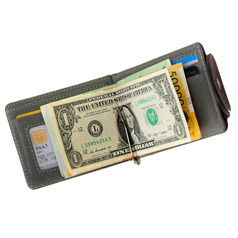 Ince Para Klip Cüzdan Ultra ince Deri Para Klip Kartları Paslanmaz Çelik Çanta Minimalist Mini Cüzdan Bifold Erkekler için