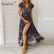 Vestido largo Retro de manga corta de verano de playa Maxi Sexy para mujer vestido bohemio con estampado Floral Vintage de Nadafair