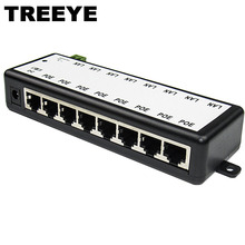 8 Ports Passive PoE Adapter 8ch PoE Power Supply Ethernet POE Injector Pin 4,5(+)/7,8(-) Input DC12V-DC48V
