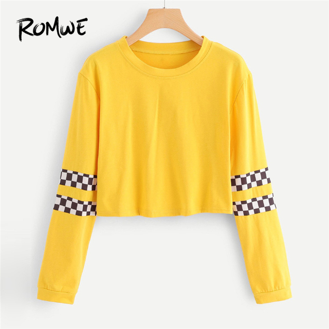 8d7331ec34b ROMWE T-Shirt Women Plaid Sleeve Round Neck Top Tee Shirt Orange Womens  Long Sleeve Crop Tops 2018 Autumn Female Casual T Shirt