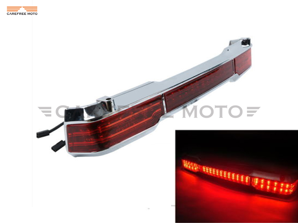 1 Pcs LED Motorcycle Tail Light Trunk King Moto Tour Pack Wrap Around Brake Lights Case for Harley Touring 1997-2008