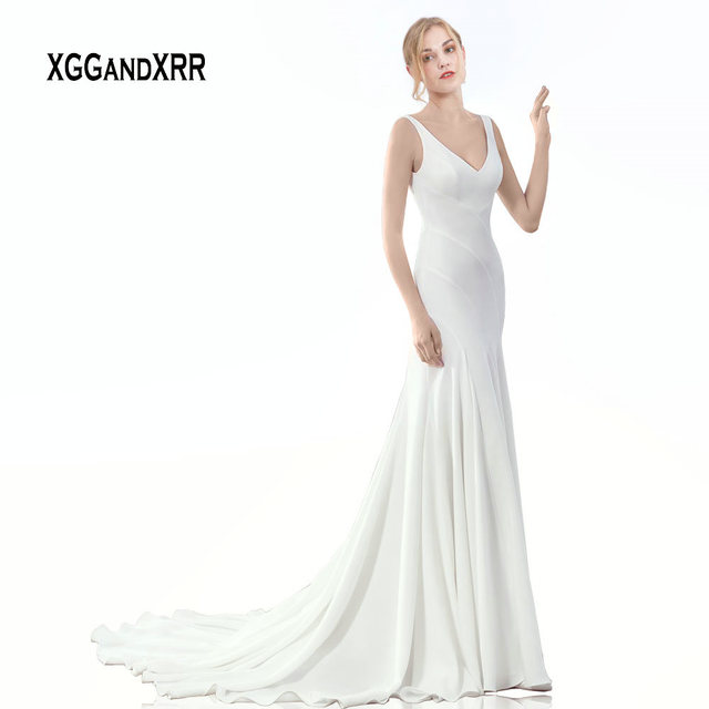 Elegant Mermaid Wedding Dress 2019 Sexy V Neck Backless Mate Satin Court Train Reception Bridal Gown White Delicate Cut Design