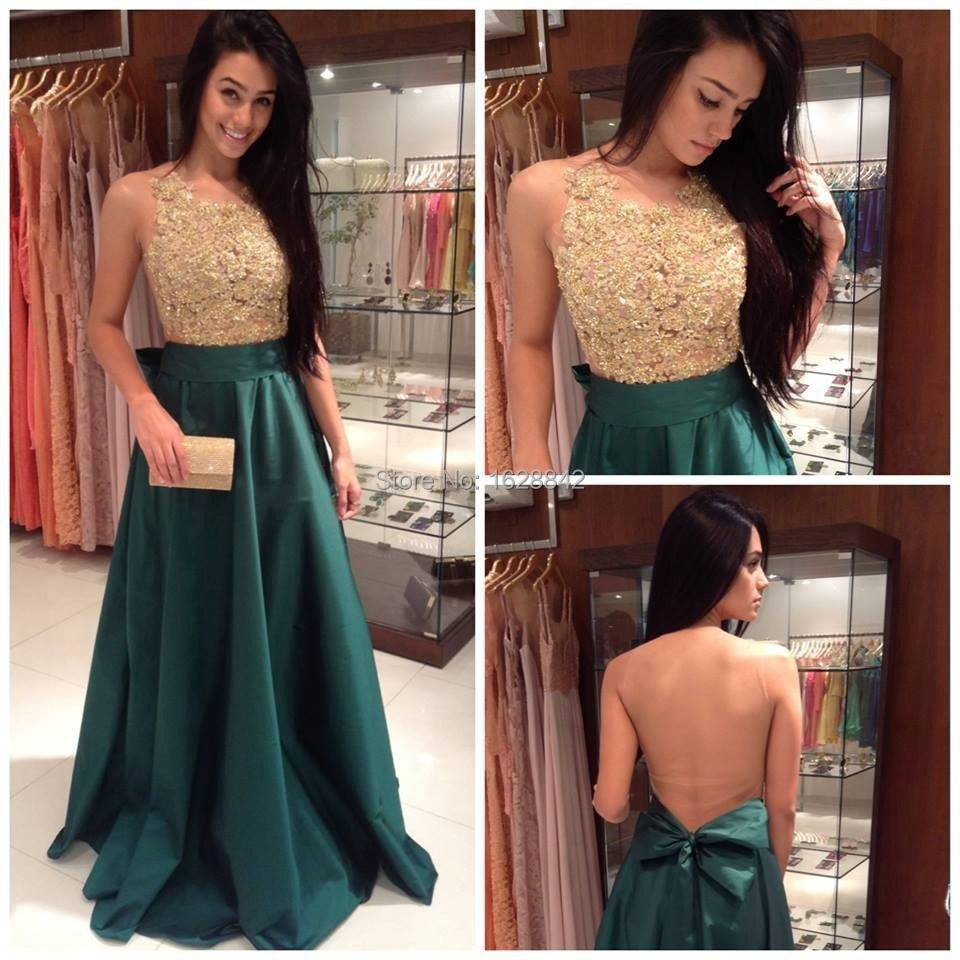 Free Shipping Purple Green Champagne Gold Lace Evening Dress Dresses See Through Formal Gowns Vestidos De Festa Longo In From