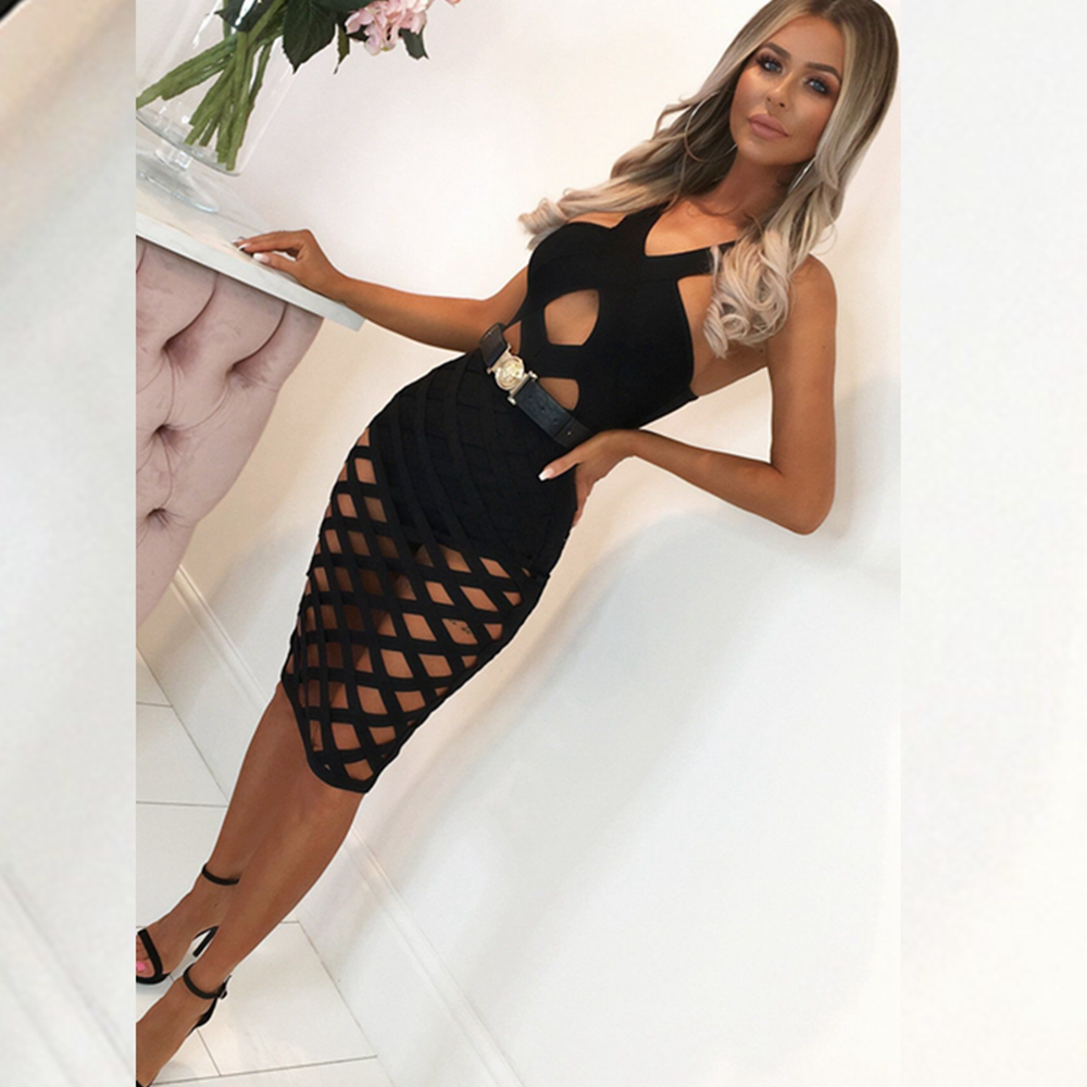 2019 Sexy Women Summer Bandage Dress Black Red Spaghetti Strap Hollow Out Bodycon Solid Backless Clubwear Vestidos Wholesale