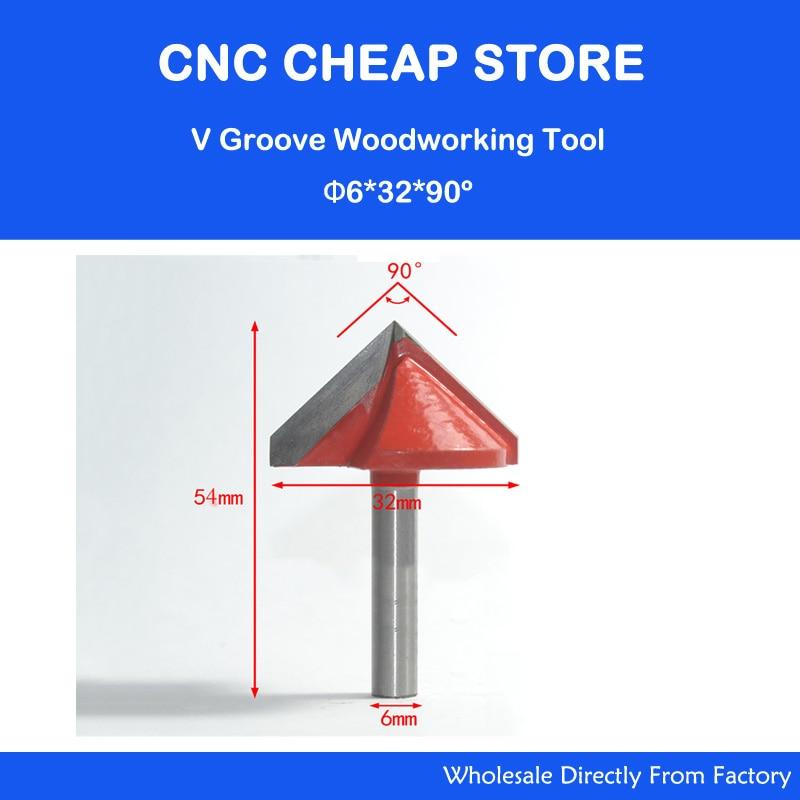 2 قطعه 6 * 32 * 90 بیت روتر 3D V چوب / ابزار Cnc / روتر بیت / آسیاب پایان / برای ام دی اف / تخته سه لا / چوب پنبه / پلاستیک / اکریلیک / PVC