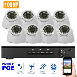 8 sztuk kryty kamera POE zestaw monitoringu NVR 1080 P 48 V System nadzoru 2MP Dome kamera Night Vision w Systemy nadzoru od Bezpieczeństwo i ochrona na