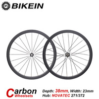 BIKEIN 1 Pair Ultralight Racing Road Bike Clincher Tubular Wheels Bicycle 3k Carbon WheelSets 38mm Depth