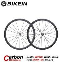 BIKEIN 1 Pair Ultralight Racing Road Bike Clincher Tubular Wheels Bicycle 3k Carbon WheelSets 38mm Depth