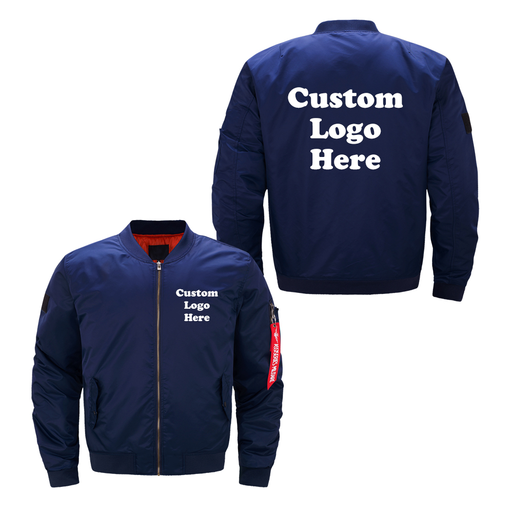 Image 2 - US Size Custom Logo Design Men Flying Jacket DIY Printing Zipper Coat Thicken Jacket Unisex Outerwear-in Jackets from Men's Clothing