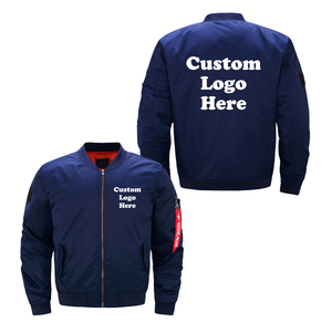 Image 2 - 미국 크기 사용자 정의 로고 디자인 남자 비행 자 켓 diy 인쇄 지퍼 코트 thicken jacket unisex outerwear