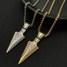Fashion Mens Vintage Alloy Spearhead Arrow Pendant Necklace Sweater Chain Accessories Stainless Steel Jewelry