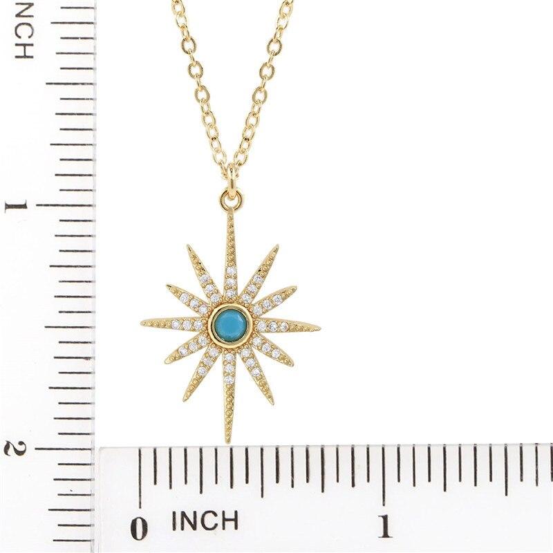 CZ-Starburst Pendant Paved Bling Cubic Zircon 2019 Trendy Pendant Necklace Women (5)