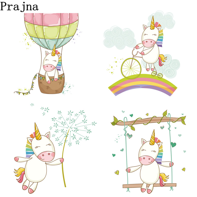 US $1 09 27% OFF|Prajna Unicorn Iron on Transfers For Kids Clothes T Shirt  Heat Transfer Vinyl Sticker Jacket Grade A Thermal Applique E-in Patches