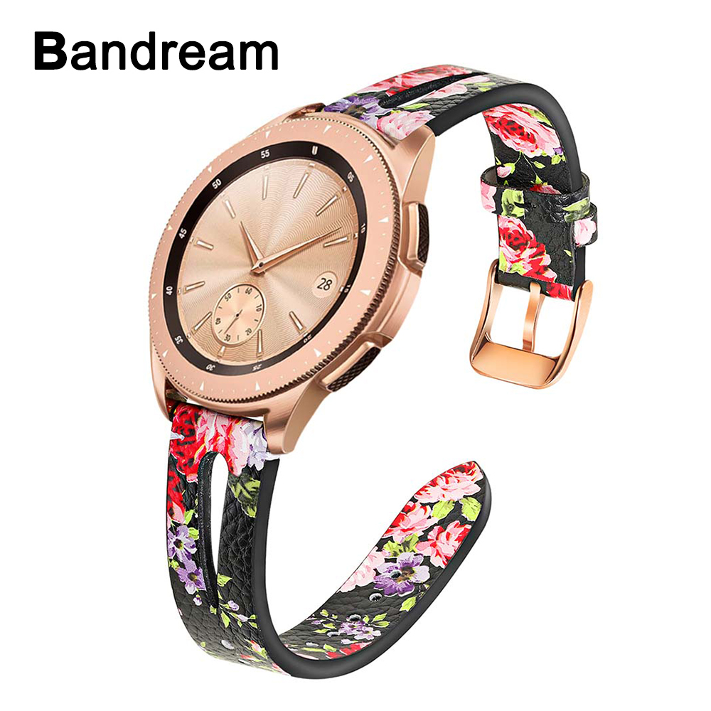 <font><b>20mm</b></font> Flower Genuine Leather Watchband for Samsung Galaxy <font><b>Watch</b></font> 42mm/Active/ Active 2 40mm 44mm /Gear S2 Classic <font><b>Band</b></font> <font><b>Women</b></font> Strap image
