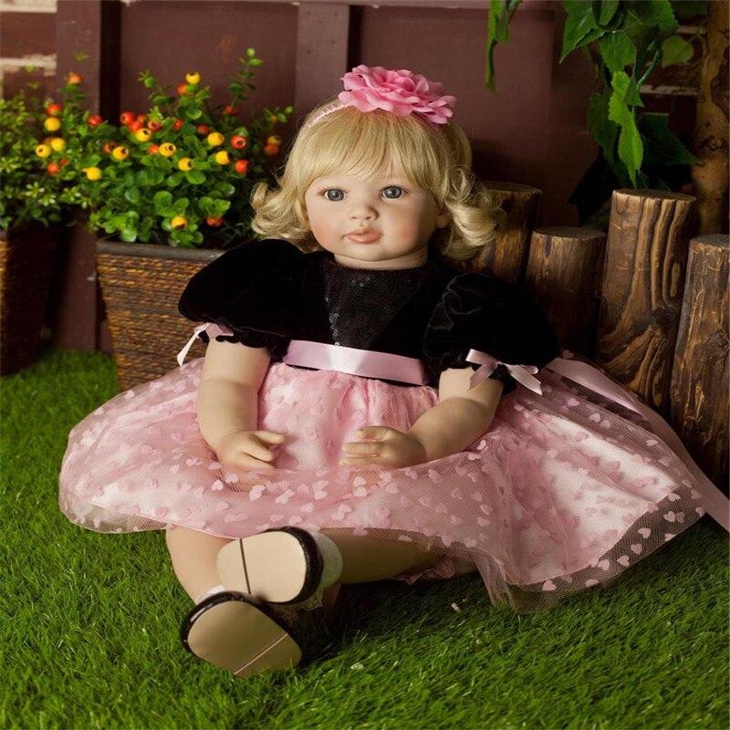 SanyDoll 22 inch 55 cm Silicone baby reborn dolls Pretty fashion Princess Dress blonde girl Holiday
