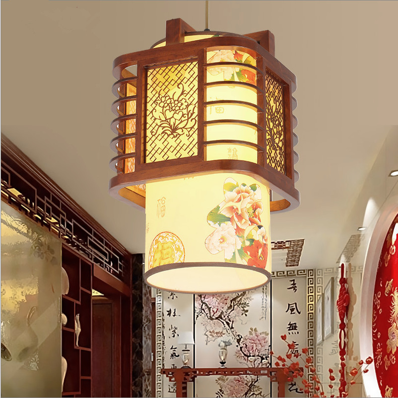 Modèle de pivoine chinoise lustre en bois d'art à travers-sculpté fleur peinture parchemin ombre E27 lampes LED pour couloir et porche MYR041