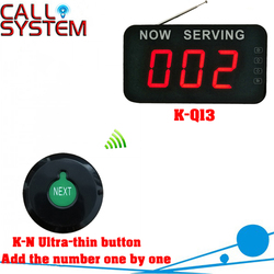 Clinic wireless paging calling system queue management 1 Ultra-thin button can add the number one by one 1 number screen