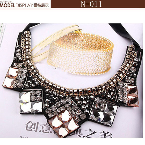 2015 new fashion bib collar necklace exaggrated women accessaries pendant necklace bead acrylic fake detachable jewelry necklace