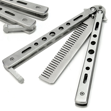 Stainless Steel Practice Training Butterfly Knife Comb Tool Cool Sport  5W3Z 7GQF Cosmetic Tools