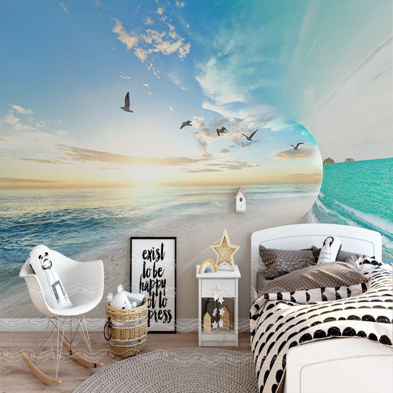 3D Custom Photo Wallpaper Sea Sky Scenery Seagull Wall Papers Mural Home Decor Wallpaper Kitchen Sofa Background Wall Paper