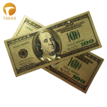 Gold Foil $100 Banknote Both Sides Gold Plated Plastic Pure 24k Gold Banknote for House Office Decoration and Business Gift