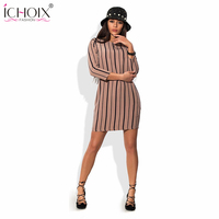 ICHOIX 2017 Novelty Sexy Ladies O Neck Striped Wrist Sleeved Dresses Office New Casual Bodycon Mini