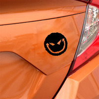 black silver 12.9*13CM Car Accessories Evil Smiley Happy Face Vinyl Car Decal Auto Truck Window Decor Auto Sticker Black/Silver (5)