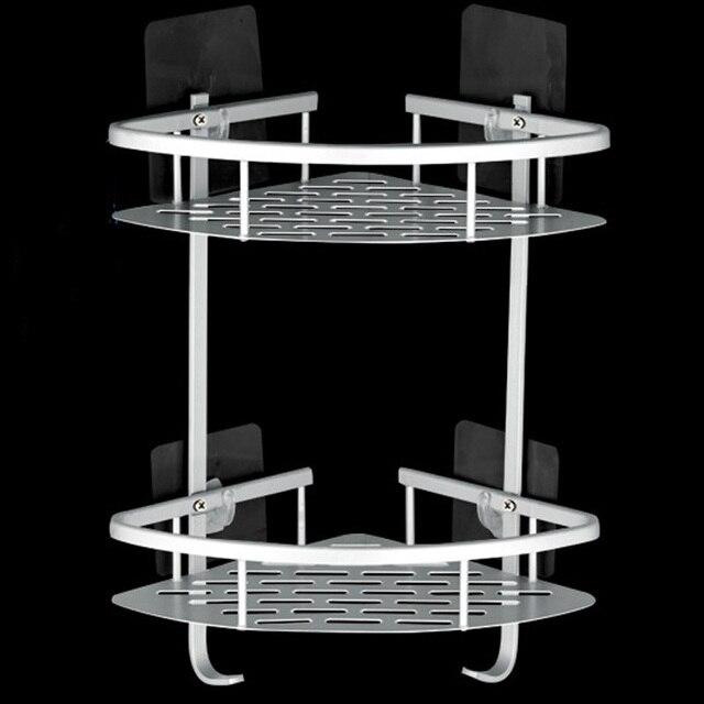 Creative Traceless Suction Cup Aluminum 2 Tier Bathroom Shelf Corner Shower  Storage With Hooks Basket Shelves