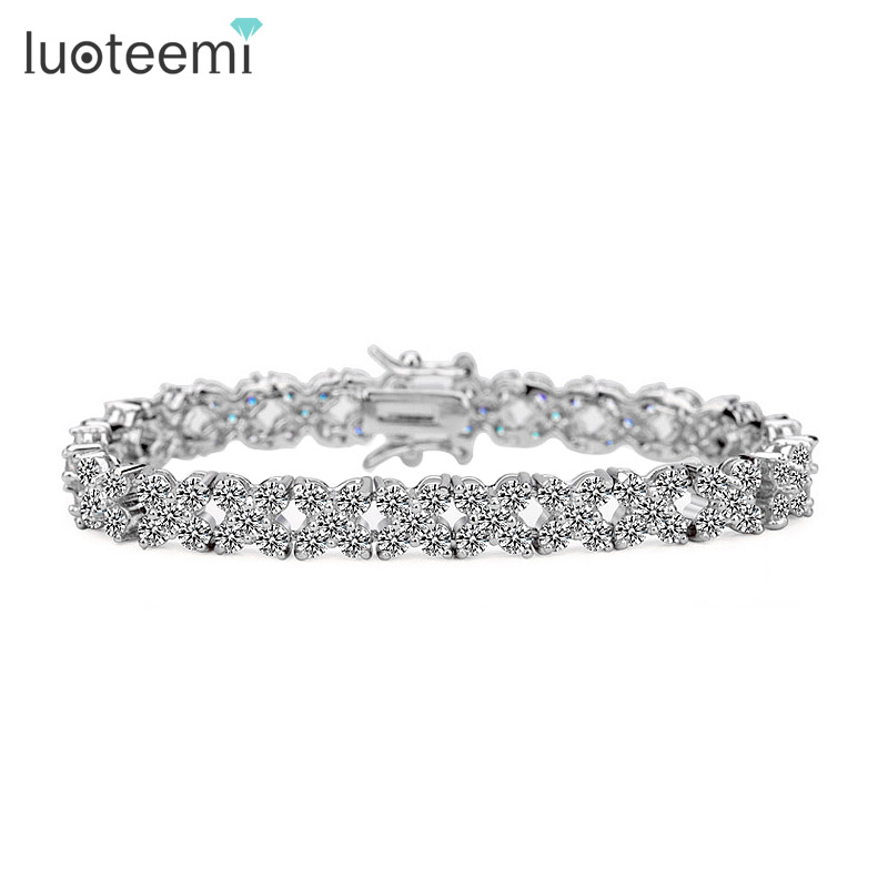 LUOTEEMI Top AAA Quality Fashion White Gold Plated Clear CZ Stone Charm font b Bracelet b