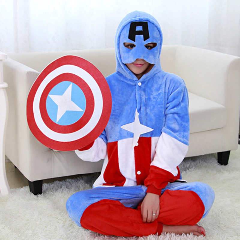 Super hero kids Pajamas Children Anime Cosplay Animal Flannel Adult Boy Girls Pyjama onesie kids One Piece Fleece Romper sleeper цена