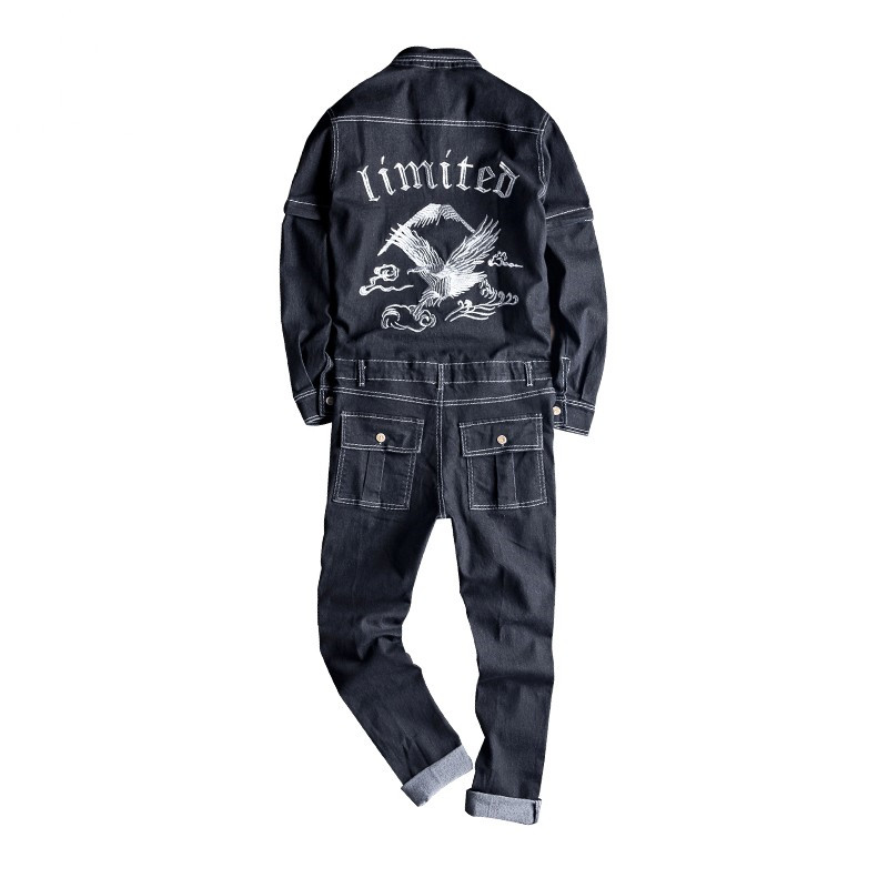MORUANCLE Men's Fashion Embroidered Jeans Bib Overalls Male Denim Jumpsuits With Multi Pockets Suspender Pants Sleeve Detachable