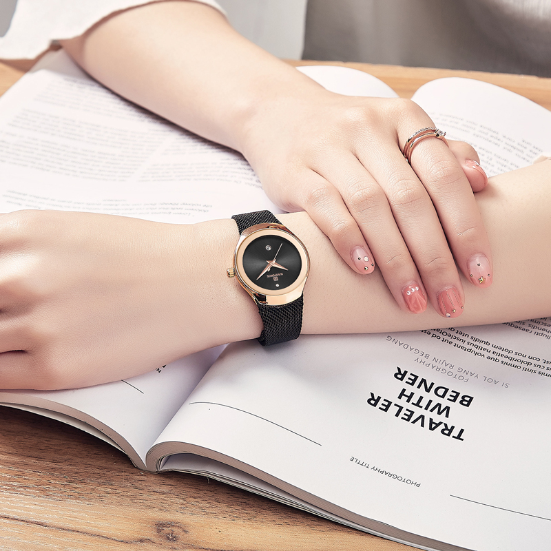 NAVIFORCE Women Watches Top Luxury Brand Fashion Quartz Calendar Watch Ladies Classic Ultra thin Rose Gold Black Wrist Watch in Women 39 s Watches from Watches