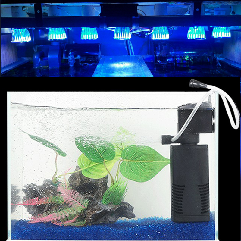 Full Spectrum 10W E27 Aquarium LED Lighting Grow Light För Fish Tank Akvarium luftpump filtrering och vattenväxter