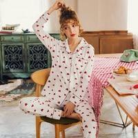 Women Nightwear Suit Autumn Sweet Cute Long Sleeve Princess Pajamas Red Heart Pattern Homewear Plus Size M 3XL Pijamas Mujer