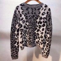 Dressnow для женщин свитеры для и пуловеры осень 2018 г. О образным вырезом свитер с длинными рукавами женская мода леопард