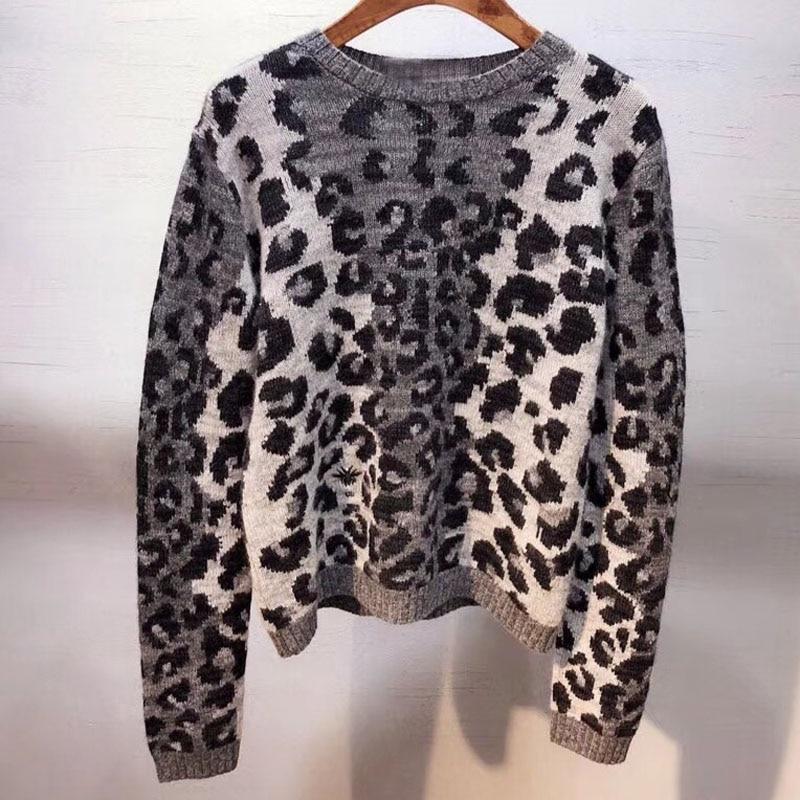 Dressnow женские свитера и пуловеры осень 2018 Круглая горловина свитер с длинным рукавом Женская мода Леопардовый свитер