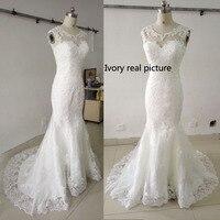 White Lace Court Train Appliques Hollow Backless Mermaid Wedding Dresses Elegant Bride Dresses Vestidos De Baratos
