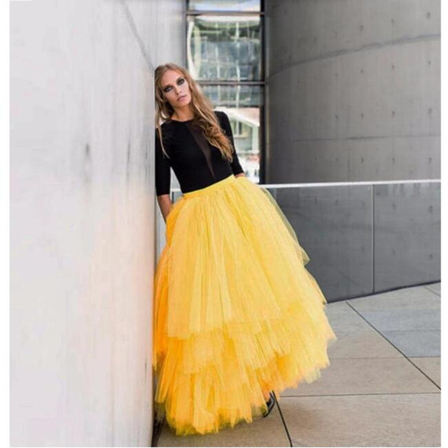102f39d5a18 Yellow Maxi Adult Long Skirt Tutu Tulle Tiered Layers Bust Skirts for Women  Stylish Long Party Homecoming skirt
